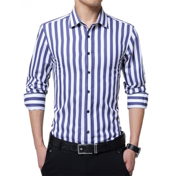 Striped Men Shirt Long Sleeve Winter New Arrival Casual Male Brand Clothing Chemise Homme Plus Size blue 5XL