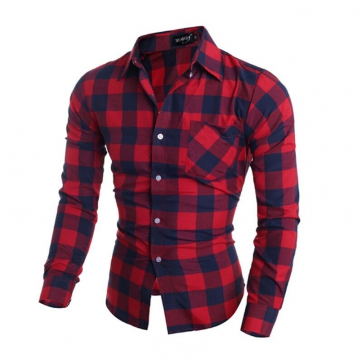 special clearance processing Men's casual plaid shirt Long Sleeve Slim Comfortable Soft Shirt red M