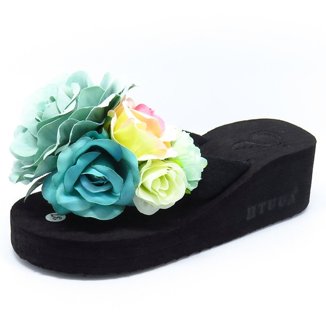 34bbd9f7e6f9 Summer Slippers Women Fashion Flip Flops Beach Platform Sandals Handmade  Flowers Wedge Jelly Shoes  01