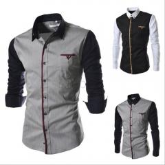 Mens Shirt Long Seeve Autumn Fashion Sim Fit  Brand Design Patchwork Chemise Homme Camisas Hombre gray M