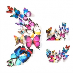 12pcs PVC 3d Butterfly wall decor stickers art Decals Multicolored Normal