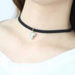 Fashion elegant triangle pendant necklace simple creative leather rope necklace white one size