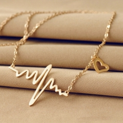 Simple Wave Heart Necklace Pulse Plated Charm Pendan Necklace gold one size