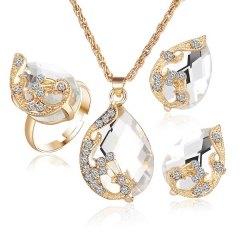 Fashion peacock jewelry set imitated crystal zircon  water drop pendant necklace earring ring set white as picture