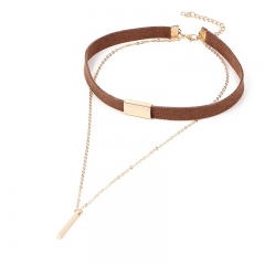 Fashion retro leather necklace simple elegant double-layer necklace brown one size