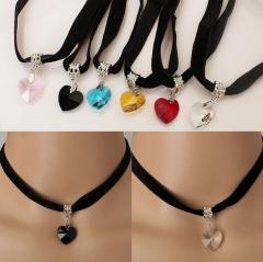 Gothic Velvet Heart Crystal Choker Handmade Necklace black one size