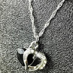 Fashion heart-shape imitated crystal necklace simple elegant necklace black one size