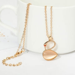 New fashion swan necklace simple elegant sweet imitated gemstone clavicle necklace as picture one size