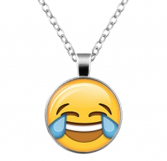 Fashion Cute Emoji Pattern Long Pendant Necklace Gift A one size