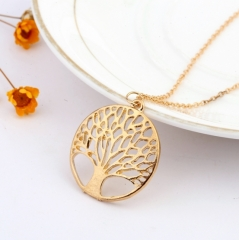 Circular hollow out wishing tree pendant Necklaces gold one size