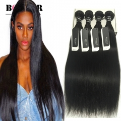 BQ HAIR Top 7A Cheap Straight Hair Weaves 8 to 32 Inches Peruvian Human Hair 4 Bundles 400g/pcs natural black 24 26 28 28