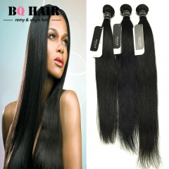 BQ HAIR Grade 8A Virgin Hair Raw Indian Hair 3 bundles Soft and Silky Straight Human Hair Weaves natural black 10 10 10