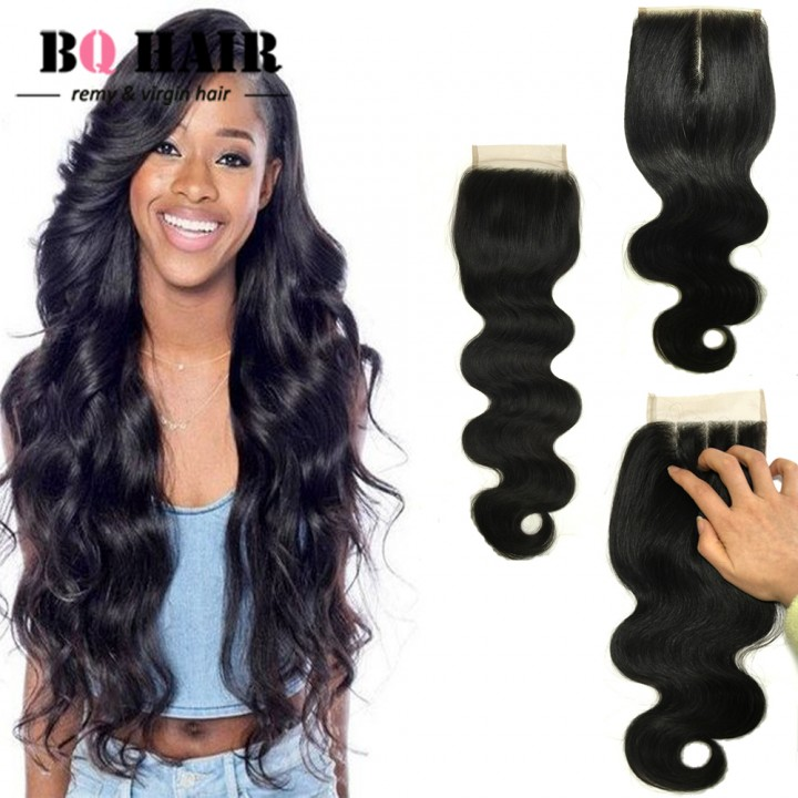 "BQ HAIR Free/Middle/Three Part Brazilian Swiss Lace Closure Body Wave Extension Human Hair (10""~20"") natural black 20 inch lace closure"