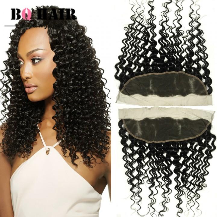 BQ HAIR Grade 8A 100% 100% Unprocessed Human Hair Brazilian 13*4 Lace Frontal Deep Wave Virgin Hair natural black 10 inch lace frontal