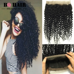 BQ HAIR 8A 360 Lace Frontal Closure Brazilian Human Hair Pieces Kinky Curly Round Frontal Closure natural black 22 inch 360 lace frontal