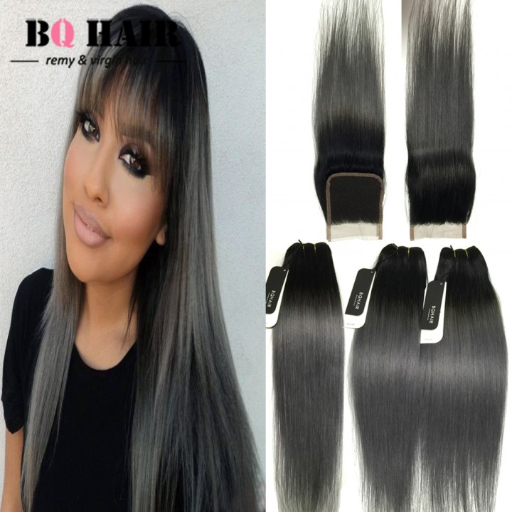 "BQ HAIR 8A Dark Root Straight Remy Human Hair Factory Price with Indian 4*4(12"") Lace Closure 1b-dark grey 10 10 10 +12"
