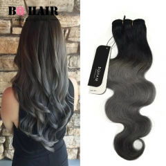 BQ HAIR Grade 8A Ombre Brazilian Virgin Human Hair Body Wave Weaves Soft and Silky 100g/Bundle 1b-dark grey 18 inch