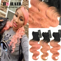 BQ HAIR 8A 3 Pieces/300g 100% Virgin Hair Body Wave Style Ombre Human Hair for Mother's Day 1b-rose gold 16 18 18