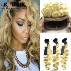 BQ HAIR Grade 8A 1B-613 3 Bundles 100% Brazilian Ombre Human Hair Weave and 360 Lace Frontal Cheap 1b-613 russian gold 10 12 14 +10