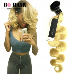 BQ HAIR Grade 8A Brazilian 1b/613 Body Wave Dark Roots Ombre Virgin Hair Extensions 100g/Bundle natural black 24 inch