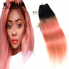 BQ HAIR 8A New Arrival 1B-Rose Gold Dark Root Ombre Hair Hot Sale 100g/pc 100% Virgin Human Hair 1b-rose gold 18 inch