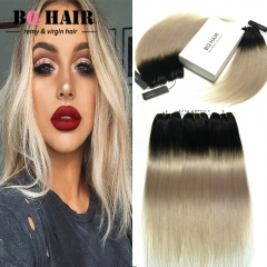 BQ HAIR 8A New Arrival Straight Human Hair Hot Sale Ombre Color 3 Bundles/300g 1b-light gray 10 10 10