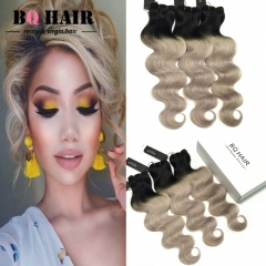 BQ HAIR 8A New Arrival Body Wave Human Hair Hot Sale Ombre Color 3 Bundles/300g 1b-light gray 16 18 18