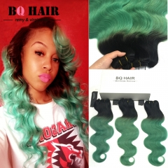 BQ HAIR Ombre 8A Remy Hair 100% Brazilian Virgin Human Hair Body Wave 3 Bundles Extension 100g/pc 1b-green 16 18 18