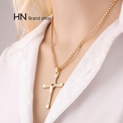 HN Brand-Cross Necklace man Toledo speed & passion 8 Pendant Jewellery Gold chain length:48cm