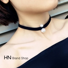 HN Brand-1Pcs/Set New Beautiful Pearl Necklace Chain of clavicle for Christmas Women Jewelry black perimeter:42cm
