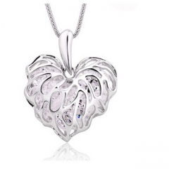 HN Brand-1Pcs/Set New Hollow love leaves glitter zircon sweater chain necklace Pendant Women Jewelry silver chain length:60cm