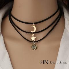 HN Brand-1Pcs/Set New Beautiful Multi layer Velvet Necklace Pendant for Christmas Women Jewellery black perimeter:35cm