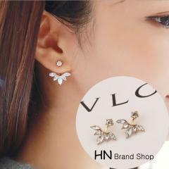 HN Brand-1 pair/Set New Beautiful Hot Horse eye flower Gemstone Stud Earrings For Women Jewellery gold one size
