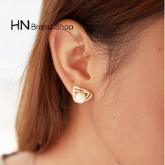 HN Brand-1 pair/Set New Beautiful HotTriangular Pearl Metal Stud Earrings Women Jewellery gold 1.5cm*1.5cm