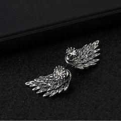 HN Brand-1 pair/Set New Beautiful Hot Angel wing Feather diamond alloy stud earrings Women Jewellery Antique Silver 1.5cm*3cm