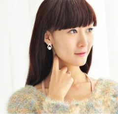 HN Brand-1 pair/Set New Beautiful Hot Cross pearl flashing drill stud earrings Women Jewellery gold 1.3cm*2cm