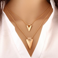 HN-1 Piece/Set New Multilayer triangle Alloy Metal Necklaces Pendant Women And Men Jewellery Gift gold as picture