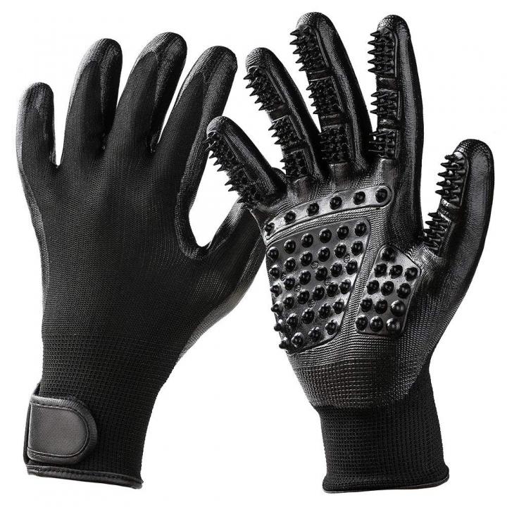 1 Pair Pet Grooming Gloves, Pet Hair Removal Gentle Brush Massage Tool black normal