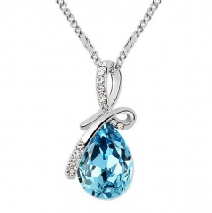 White Gold Plated Necklace with Teardrop Crystal Blue blue normal
