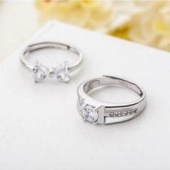 925 Sterling Silver Lover Rings Set Sweet Bowknot Women Men Gifts silver normal
