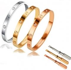 Men Women Steel Fashion Love Screwdriver Bangle Bracelet rose gold 20in