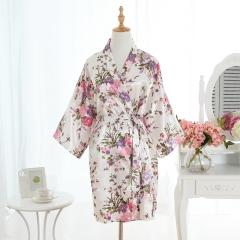 Hot Women Short floral Robe Dressing Gown Bridal Wedding Bride Bridesmaid Kimono white One Size