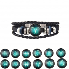 Retro Leather Rope Braided 12 Constellation Bracelet Men and Women DIY Punk Aries normal