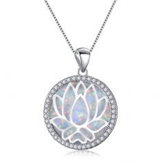 Beautiful Round White Fire Opal 925 Silver Hollow Lotus Chain Pendant Necklace white normal