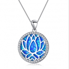 Beautiful Round White Fire Opal 925 Silver Hollow Lotus Chain Pendant Necklace blue normal