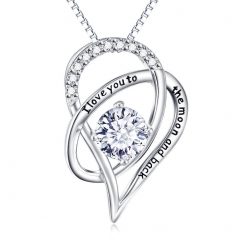 I Love You To The Moon and Back Heart Necklace white normal