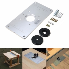 For Woodworking Benches Aluminum Router Table Insert Plate With 4 Rings Screws silver normal