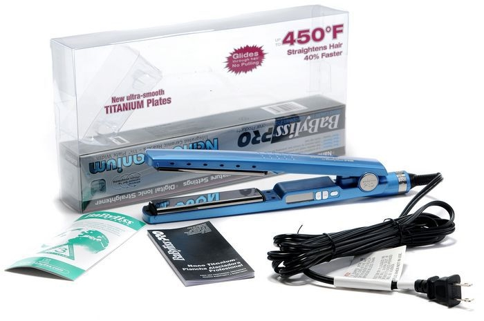 "Titanium Plated 1.25"" Hair Flat Iron 1 1/4 BABNT2091 Priority blue normal"