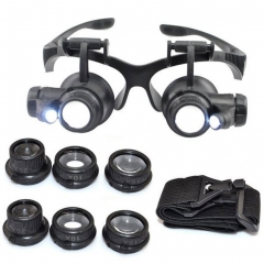 10/15/20/25X LED Eye Jeweler Watch Repair Magnifying Glasses Magnifier Loupe black