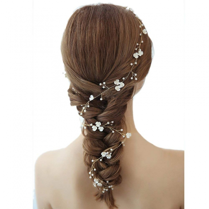 Bridal Vintage Pearl Vine Hairbands Headpiece Wedding Hair Accessories 1M White 1m